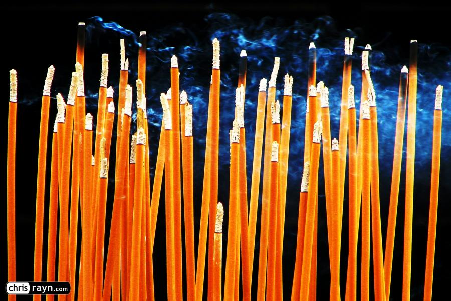 Incense burning in a Chinese temple in Beijing