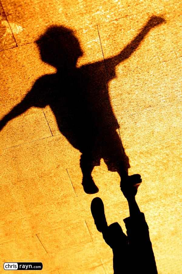 Shadow of a man, striving higher and higher