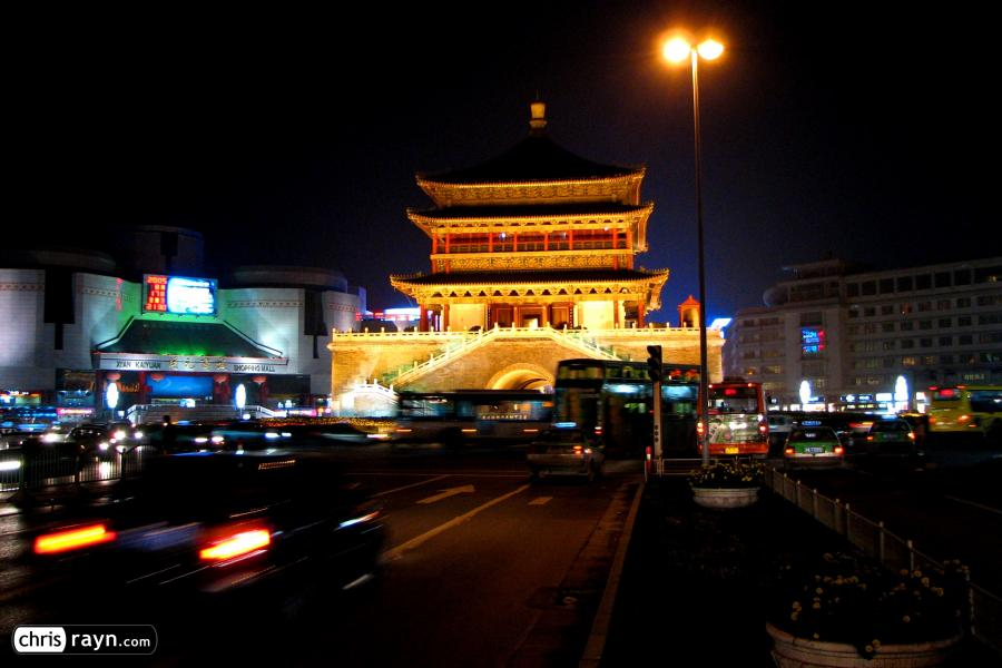 Taxi ride to Xi'an's Bell Tower