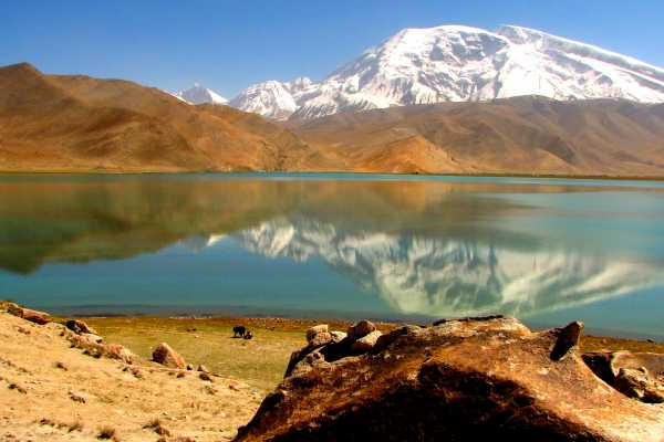 Karakul Lake in the Pamir Mountains near Karakoram Highway