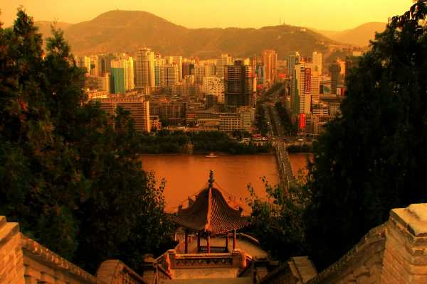 Lanzhou's Skyline rises from the Yellow River