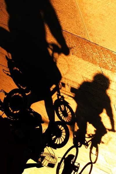 Riding a bike sets shadows in motion