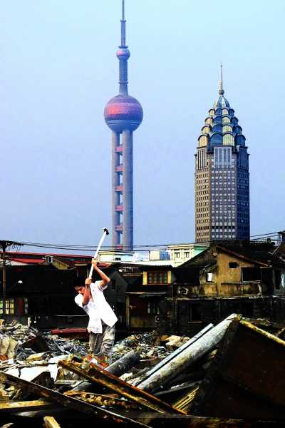 Shanghai's skyline is taking shape behind the old town
