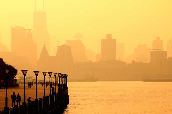 Shanghai's River and Bund Skyline in Heavy Air Pollution