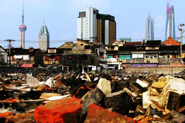 Shanghai's skyline rises from the remains of the old town