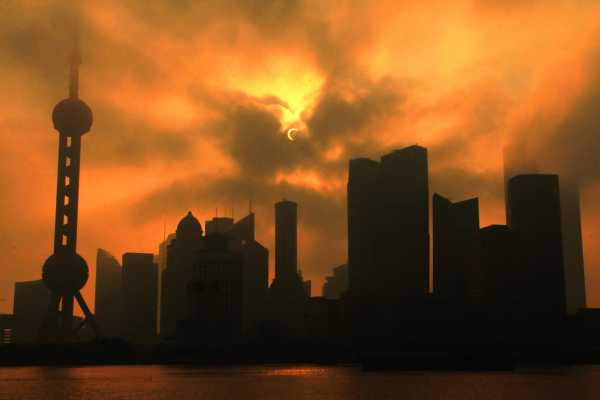 Solar Eclipse in Shanghai during Sunrise